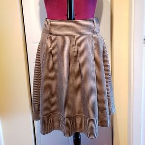 Beige and black striped skirt